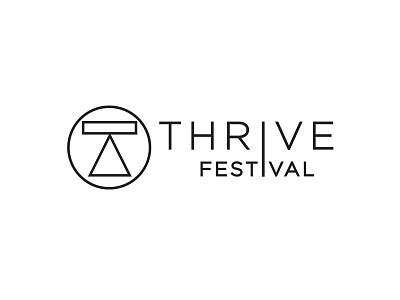 Thrive Festival lettering geometric design concept branding logo