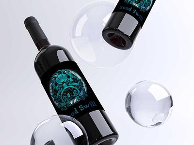Good Swill wine label label branding logo