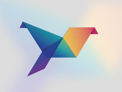 Origami Logo Concept logo bird rainbow colour concept