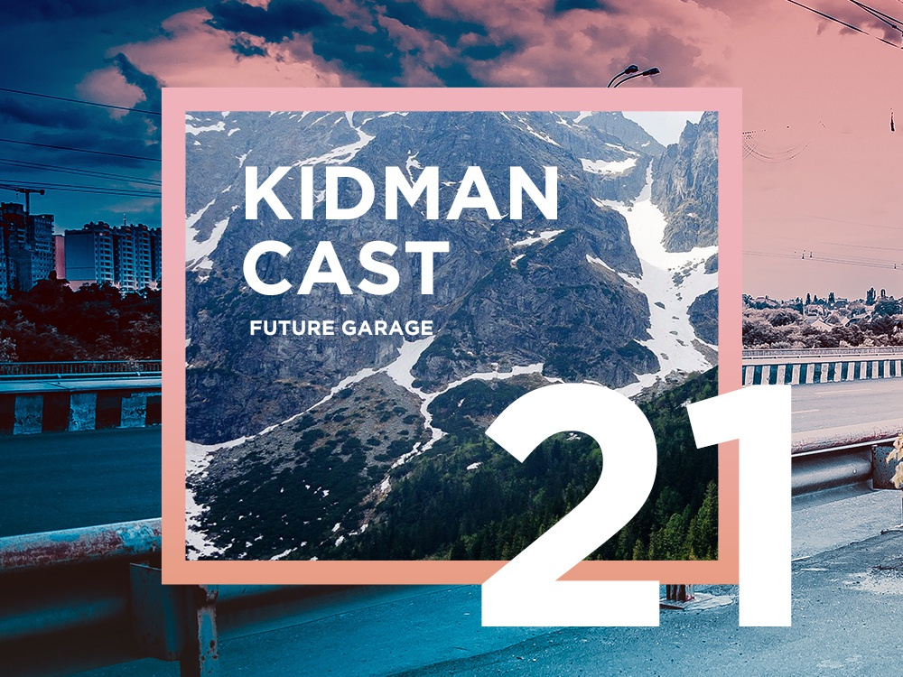 Future Garage Podcast cover design music artwork future garage atmospheric typogaphy mountains photo music