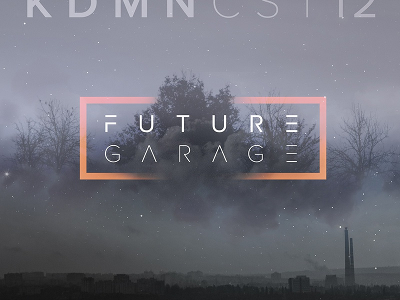 Future Garage Podcast cover design (12th edition) typography dark fog moon forest urban dramatic photo album cover music art future garage