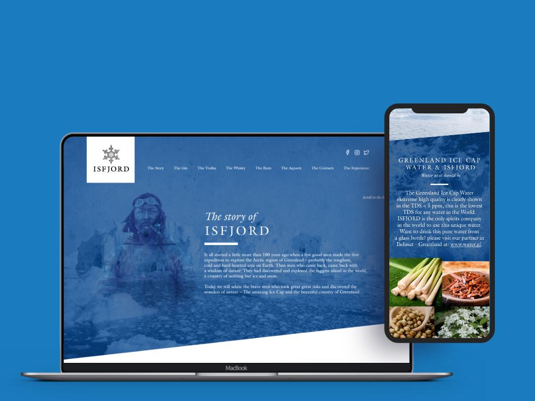 Website for Spirit Producer typography logo branding ui flat material design material ui design flat ui danemark ice blue mobile-first responcive photo album acohol stylish web design web photo