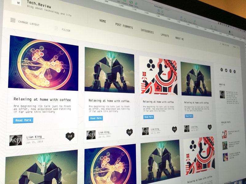 Masonry layout for new Wordpress Theme by ThemeBully on Dribbble