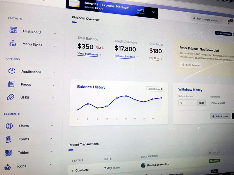 Clean admin dashboard template for bootstrap 4 by themebully financial banking dashboard layout template pronofoot35fo Choice Image