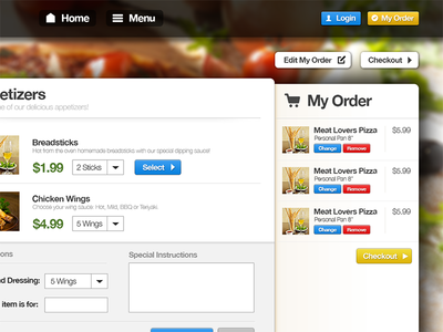 Web application for restaurants