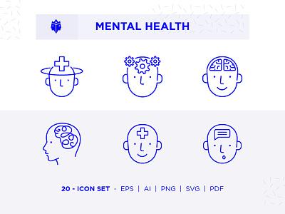 Mental Health Icon Set minimal ios web app branding ux logo ui mental illness design outline live health icon set icon mental health mentalhealth