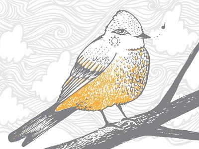 Say's Phoebe illustration design letterpress