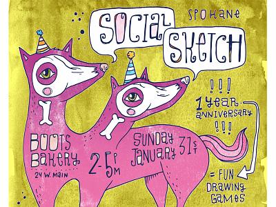Social Sketch Poster animals poster illustration