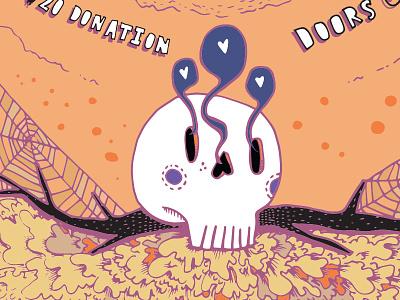 Skull heart eyes sketch detail illustration skull