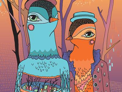 KH Office Birds art birds drawing illustration