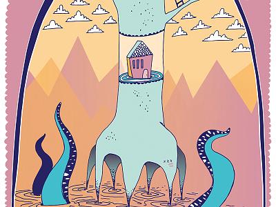 Show Poster tree house monster lettering illustration show poster