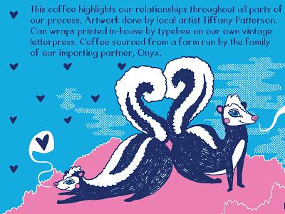 Skunk Butts hand drawn letterpress valentines illustration love