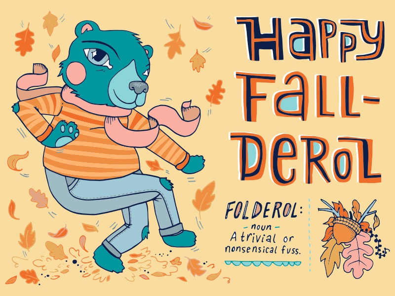Happy Fall-Derol bear dance leaves bright fall illustration