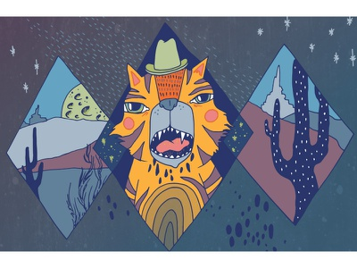 Tiger in a cowboy hat night tiger illustration show poster