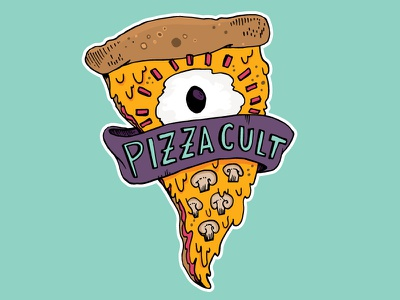 Pizza Cult playoff drippy cult pizza illustration