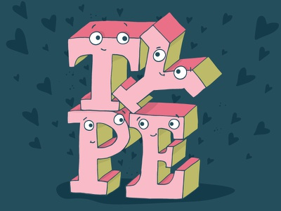 Type Love hearts illustration hand lettering type love valentines