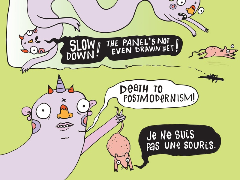 Death To Postmodernism french humor monster mouse illustration postmodern comic