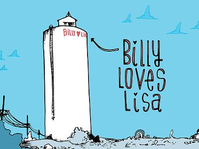 Billy Loves Lisa pnw spokane lettering landscape love illustration