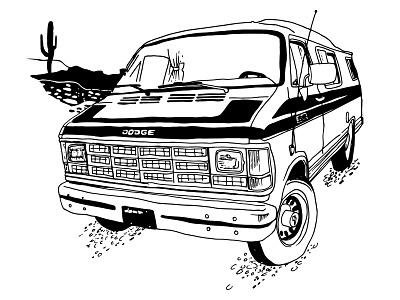 Van Band Shirt screenprint t-shirt dodge van illustration line drawing