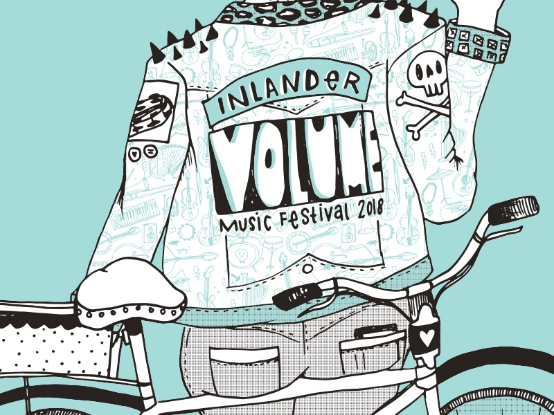Volume Music Fest Poster music 2 color punk screen print illustration