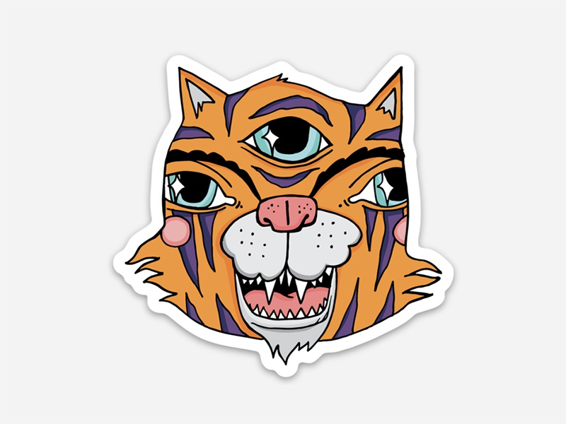 New Sticker third eye animal bright tiger illustration sticker