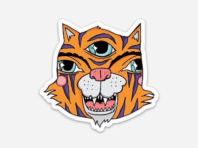 New Sticker third eye animal bright tiger illustration sticker