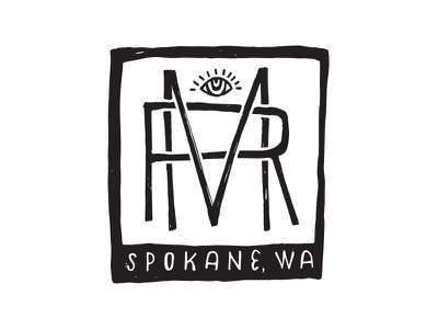 The Mild Riders club spokane scooter r m eye lines hand drawn monogram logo