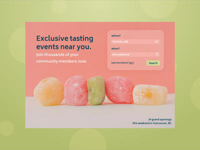 Food & Drink Events restaurant food and drink landing landing page welcome screen welcome page welcome web app search login web food 100 day ui challenge 100days 100 daily ui