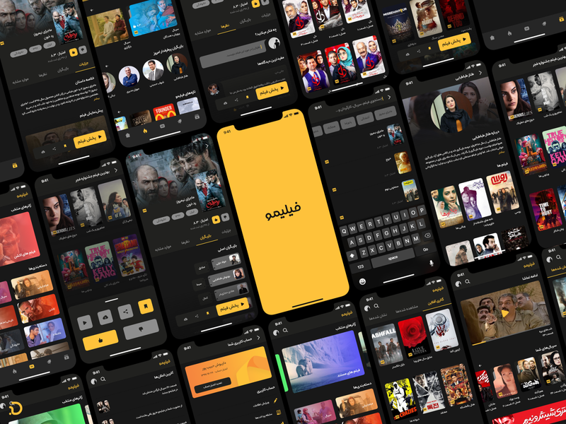 Filimo Redesign dark theme dark mode dark yellow movie filimo ui design design persian