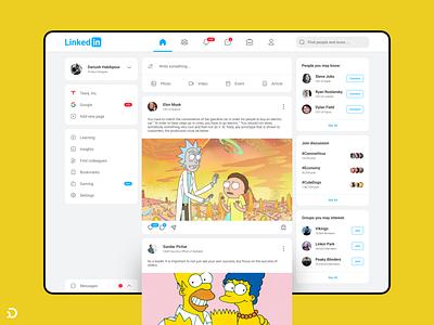 LinkedIn Retouch connect new post timeline socialmedia piqodesign simpsons rick and morty rickandmorty rick ui linkedin website