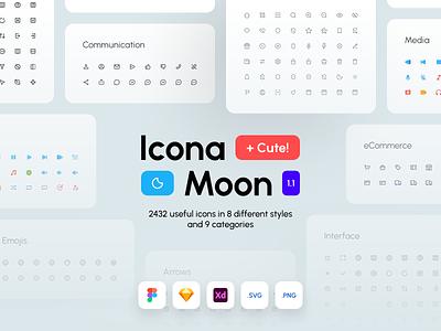 IconaMoon 1.1 iconamoon icon set icon pack adobe xd sketch figma icon free iconpack casestudy player icon app icon uiux shop icon icons free icon icon