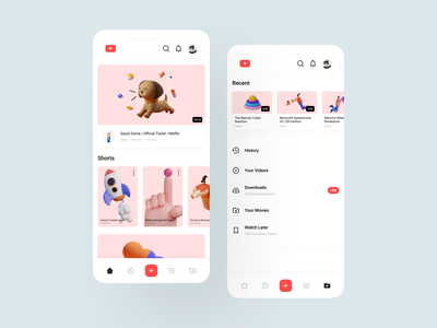YouTube with IconaMoon 1.1 modern minimal ui design mobile app youtube icons icon pack icon iconamoon app ux ui uiuiux