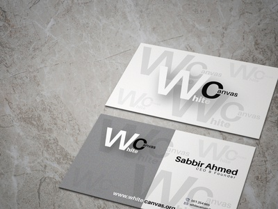 White canvas business card design