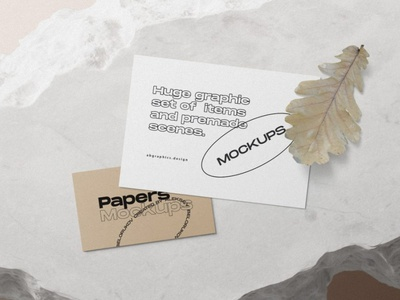 Free Paper Cards With Oak Leaf Mockup mock up scene creator 2 freebies oak leaf leaf free mockup card mockup paper mockup free mock ups mockup