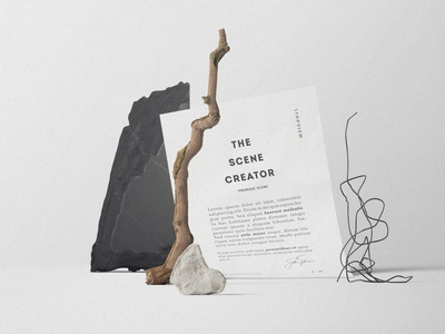 Free Paper In A Composition Of Objects Mockup branding design free mockup scene creator mock up free freebies mock ups mockup