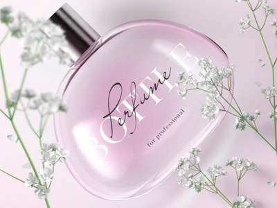 Beautiful Perfume Packaging With Branches Mockup Top View stationery