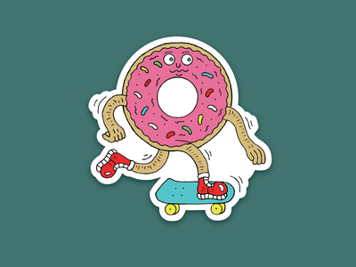 Skate Donut Sticker sneaker shoes food frosting frosted pink sprinkle rebound skateboard skate donut