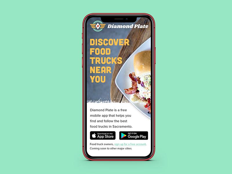 Diamond Plate - Mobile Concept user interface design user interface ui visual design mobile app design responsive food truck app food truck food mobile app mobile diamond plate
