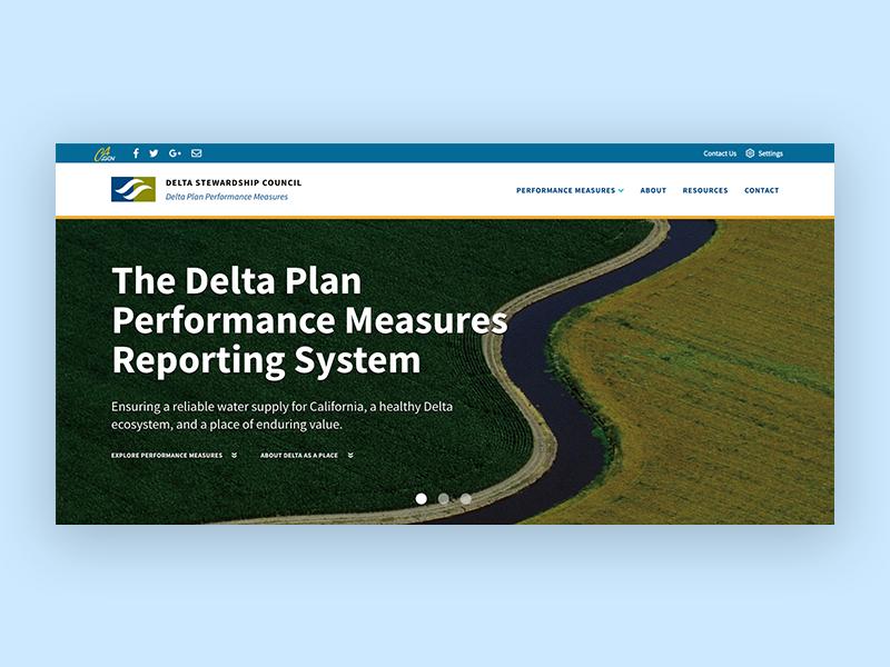 Delta Stewardship Council - Hero Design data hero component data viz data visualization government sacramento user interface design user interface california ui design visual design
