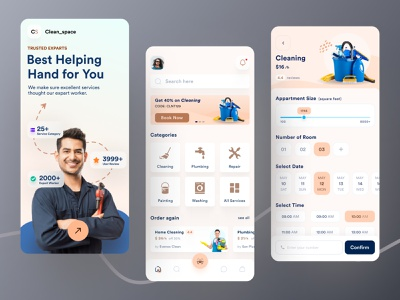 Home Cleaning Service App 2021 mobile app design minimal clean cleaning service reparing plumber service laundry service home service solution app ios app on demand app service booking booking app 2021 cleaning company housing service concept creative design design trends 2021 design trends