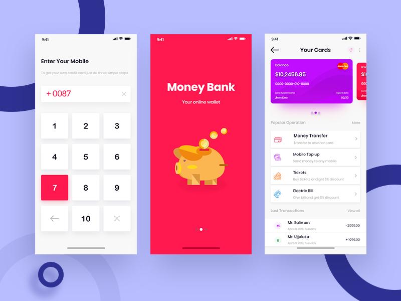 Online Wallet App Design illustration app web ui design ux ui bank card bank app app ui design mobile app design app design online wallet online banking