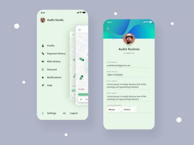 User Profile UI Design For Ride Sharing App