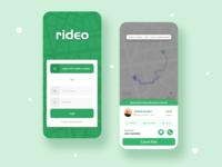 Ride Sharing App Login & Car Request UI design