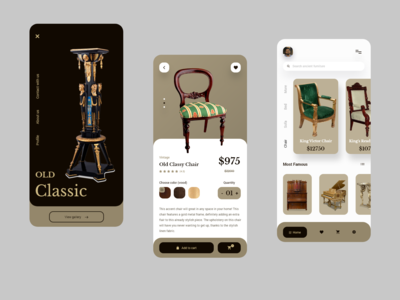 Furniture e-commerce shop app concept.
