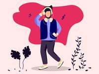 Listening Music Character Design