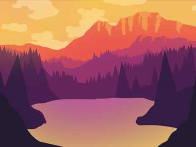 Yellow Lake purple red clouds pastel illustrator flat illustration design sunset landscape forest trees moutains lale yellow