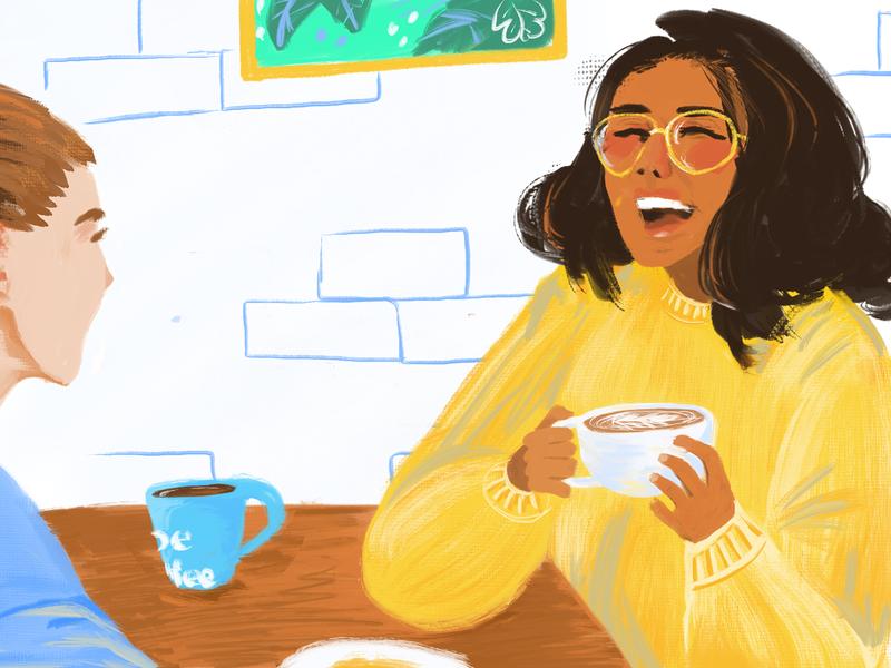 Together Coffee digital painting oil paint coffee shop people cafe coffee joe coffee painting characters procreate illustration