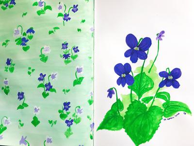 Violets seasonal spring painting illustration floral flowers violets pattern design botanical illustration gouache