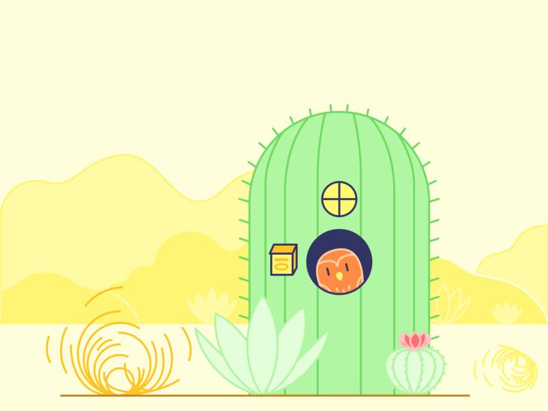 Pygmy Owl Abandoned Cart Illustration security app abandoned cart owl desert cactus cacti owls vector illustration illustration vector security kangaroo