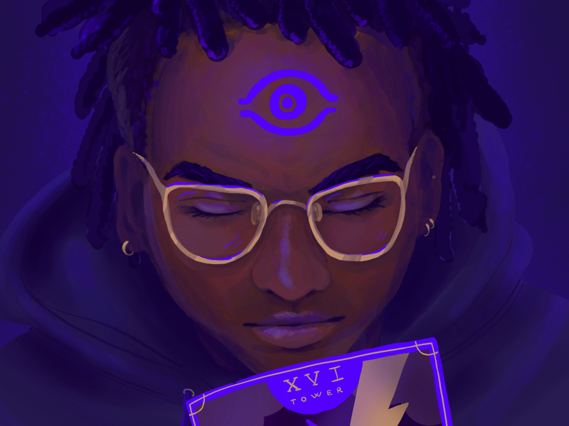 Malachi Jones the tower tarot spooky purple realistic painting procreate painting characters illustration